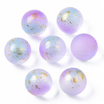 Transparent Spray Painted Frosted Glass Beads, with Golden Foil, No Hole/Undrilled, Round, Lilac, 10mm(X-GLAA-N035-05B-01)