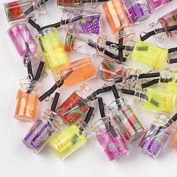 Glass Bottle Pendants, with Resin Inside, Fruit Tea Charms, Mixed Color, 25~28x10mm, Hole: 1.8mm(X-CRES-N017-06)