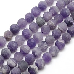 Frosted Natural Amethyst Round Bead Strands, 12mm, Hole: 1mm; about 30~32cps/strand, 14.9~15.6inches