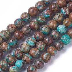 """Chapelets de perles en jaspe d'océan naturelle, teints et chauffée, rond, 4mm, trou: 0.5mm; environ 88 pcs/chapelet, 15~15.3"""" (38.2~39 cm)(G-F648-03-A)"""