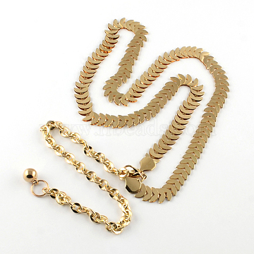 Iron Chain Belts with Aluminum End Chains, Light Gold, 31.1 inches(79cm)(X-AJEW-R051-01)