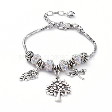 European Bracelets, with Brass Snake Chain Bracelet Making, Polymer Clay Rhinestone European Beads, Alloy European Beads and Owl & Tree & Dragonfly Pendants, Crystal AB, 7-7/8 inches(19.9cm)(BJEW-JB04907-05)