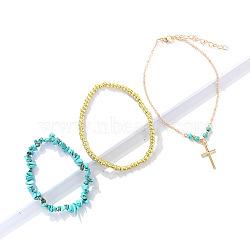 bracelets de cheville en perles et bracelets de cheville à breloques croisées, avec des chaînes en laiton, turquoise, Perles de rocaille, darkturquoise, 7-1 / 8 / 9-7 8 cm), (18~25 PCs / ensemble(AJEW-K024)