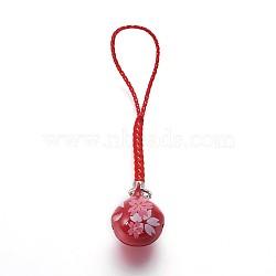 Мобильная украшения, медный колокольчик, с нейлоновой, шаблон сакуры, красные, 100 мм(KKB-P001-02A)