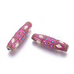 Handmade Indonesia Beads, with Polymer Clay, Resin and Alloy Findings, Horse Eye, Platinum & Golden, HotPink, 59~61x16~17mm, Hole: 4mm(IPDL-G021-B03)
