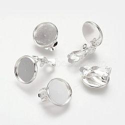 Boucle d'oreille en laiton, Accessoires de bijoux, argenterie, 16x14 mm; plateau: 12 mm(KK-I007-S-NF)