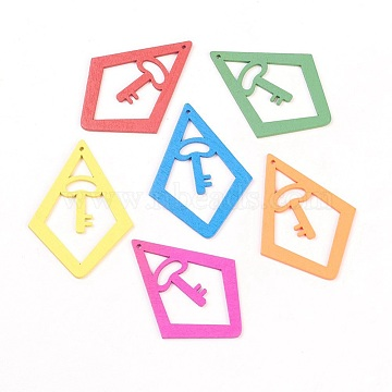 Wood Pendants, Rhombus, Dyed, Lead Free, Mixed Color, about 68mm long, 50mm wide, 3mm thick, hole: 2mm(X-TB419Y)