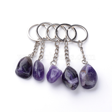 Natural Amethyst Keychain, with Iron Findings, Platinum, 85~94mm(X-G-Q484-D05)