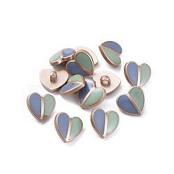 Boutons à queue en plastique CCB, avec l'émail, cœur, couleur or mat, colorées, 17.5x18.5x8.5mm, Trou: 3.5mm(X-BUTT-S024-08A)