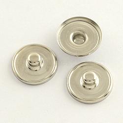 Латунь оснастки сеттинги кнопки кабошон, шпилька фурнитуры, плоско-круглые, платина, 18.5x5~6 мм; Ручка: 5.5 мм; лоток: 18 мм(KK-Q686)