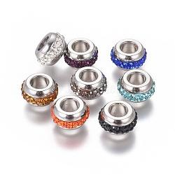 Perles en 304 acier inoxydable, avec argile polymère strass, Perles avec un grand trou   , rondelle, couleur inoxydable, couleur mixte, 12.5x6.5mm, Trou: 5.5mm(STAS-E477-12)