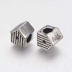 Supports de strass de perles européennes en 304 acier inoxydable, Perles avec un grand trou   , maison, argent antique, 10x9.5x9mm, trou: 5 mm; apte à 1 mm strass(STAS-J022-104AS)