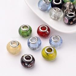 Chalumeau à la main mixte perles européennes, perles de rondelle avec grand trou , environ 14 mm de large, Longueur 10mm, Trou: 5mm(X-M-PDL)
