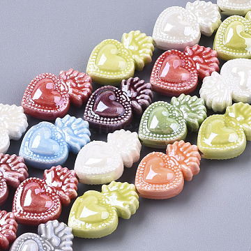Handmade Porcelain Beads, Bright Glazed Porcelain Style, Heart, Mixed Color, 16x10.5x6.5mm, Hole: 1.2mm(X-PORC-T005-005)