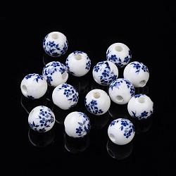 10 pcs rondes fleur à la main bleu et blanc perles de porcelaine céramique, 10mm, Trou: 3mm(X-PORC-Q201-10mm-4)