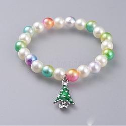 """Bracelets de charme enfants acrylique extensible perle stretch, avec des pendantifs en alliage d'émail, pour noël, arbre de Noël, colorées, 1-3/4"""" (4.4 cm)(BJEW-JB04574)"""