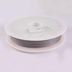 1 rouleau couleur d'origine, fil de queue de tigre, acier revêtu de nylon, gris clair, taille: environ 0.8mm de diamètre, environ 20 m / bibone (X-TWIR-20R0.8MM-1)