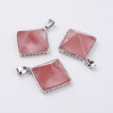 Pendentifs en verre de pierre pastèque, de trouver des alliés, pyramide, platine, 28.5x32x13 mm, trou: 3.5x6 mm(G-E442-02C)