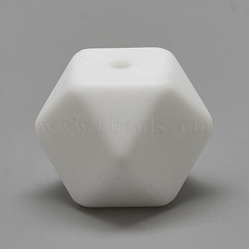 Food Grade Environmental Silicone Beads, Chewing Beads For Teethers, DIY Nursing Necklaces Making, Faceted Cube, White, 14x14x14mm, Hole: 2mm(X-SIL-Q009B-01)