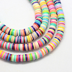 Eco-Friendly Handmade Polymer Clay Beads, Disc/Flat Round, Heishi Beads, Mixed Color, 6x1mm, Hole: 2mm; about 380~400pcs/strand, 17.7 inches