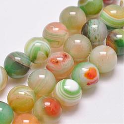 Natural Striped Agate/Banded Agate Bead Strands, Dyed & Heated, Round, Grade A, Colorful, 12mm, Hole: 1mm; about 32pcs/strand, 15.1inches(385mm)