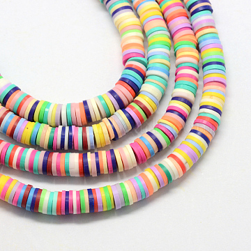 6mm Mixed Color Flat Round Polymer Clay Beads