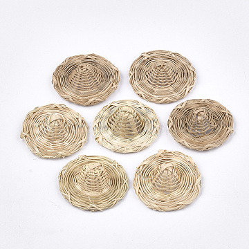 Handmade Reed Cane/Rattan Woven Decoration, Straw Hat, AntiqueWhite, 38~41x13~18mm(X-WOVE-T006-089B)