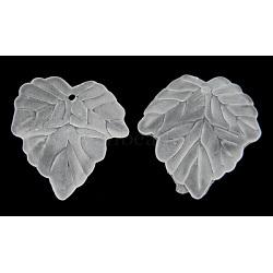 Pendentifs de feuille en acrylique mat transparent, blanc, longueur d'environ 24 mm ,  largeur de 22.5 mm, épaisseur de 3mm, Trou: 1 mm(X-PAF002Y-14)