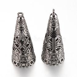 Bélières pendentif en alliage, cône, bélière pompon casquette, sans plomb, gunmetal, 48x19mm, trou: 2 mm; mesure intérieure: 17 mm(X-PALLOY-S090-04B-LF)