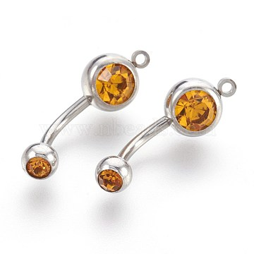 304 Stainless Steel Body Jewelry, Belly Rings, with Rhinestone, Topaz, 24mm; Pin: 1.5mm; Hole: 1.5mm(AJEW-L071-F03)