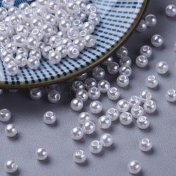 Perles acryliques en perles d'imitation, rond, blanc, 4mm, Trou: 1mm(X-PACR-4D-1)