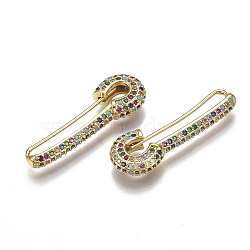 Brass Micro Pave Cubic Zirconia(Random Mixed Color) Brooch, Golden, 30.5x10.5x4.5mm; Pin: 0.8mm(ZIRC-S061-69)