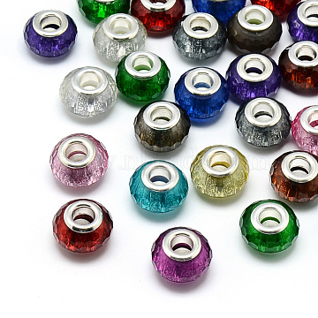 Resin European Beads, Large Hole Beads, with Silver Color Plated Brass Cores, Faceted, Rondelle, Large Hole Beads, Mixed Color, 13.5~14.5x9mm, Hole: 5mm(X-RPDL-S009-M)