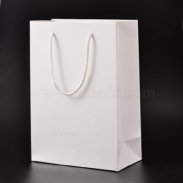 Rectangle Cardboard Paper Bags, Gift Bags, Shopping Bags, with Nylon Cord Handles, White, 40x30x10cm(AJEW-L050C-01)