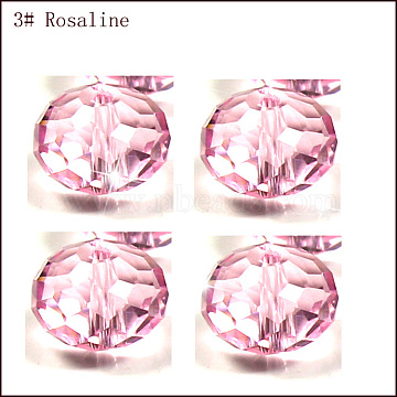 Imitation Austrian Crystal Beads, Grade AAA, Faceted, Rondelle, Pink, 6x4mm, Hole: 0.7~0.9mm(SWAR-F068-4x6mm-03)