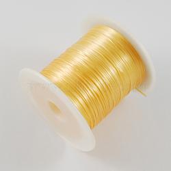 chaîne de cristal élastique plat, fil de perles élastique, pour la fabrication de bracelets élastiques, or, 1 mm, 10 m / rouleau(EW-S002-18)