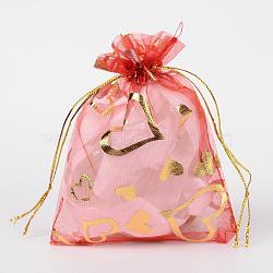 coeur imprimé organza sacs, sacs de faveur de mariage, des sacs-cadeaux, rectangle, rouge, 12x10 cm(X-OP-R022-10x12-07)