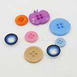 7mm Mixed Color Others Acrylic 4-Hole Button(BUTT-A008-M01)