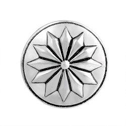 Boutons en bijoux en alliage, plat et circulaire avec fleur, argent antique, 20x7 mm; bouton: 5.5 mm(PALLOY-Q326-VNC015)