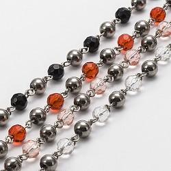 """Rondes à la main perles de verre chaînes de colliers bracelets faisant, avec épingle à oeil en fer, non soudée, couleur mixte, 39.3""""; environ 42 sets/ chapelet(AJEW-JB00082)"""