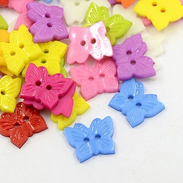 Acrylic Buttons, 2-Hole, Dyed, Butterfly, Mixed Color, 15x13x2mm, Hole: 1mm(X-BUTT-E054-B-M)