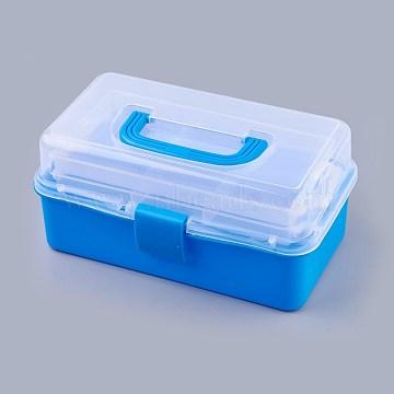 Portable Plastic Three-storey Multifunctional Storage Box, Blue, 28.2x16.2x13.3cm(CON-WH0064-G01)