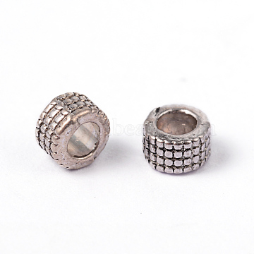 Tibetan Silver Spacer Beads, Lead Free & Nickel Free & Cadmium Free, Column, Antique Silver, about 5mm in diameter, 3mm long, hole: 3mm; about 100pcs/20g(Y-LF0398Y-NF)