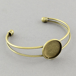 латунь манжеты браслет решений, пустое основание браслета, античная бронза, 64 mm; лоток: 20 mm(X-MAK-S001-SZ016AB-20)