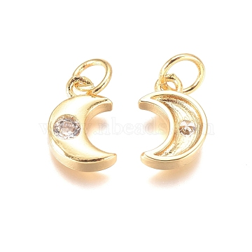 Brass Charms, with Cubic Zirconia and Jump Rings, Heart, Clear, Golden, 10.5x7x2mm, Hole: 3mm(X-ZIRC-I038-36G)