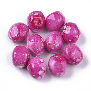 Drawbench Acrylic Beads, Spray Painted Style, Round, Camellia, 14.5x13.5x12.5mm, Hole: 2mm(X-MACR-T036-01)