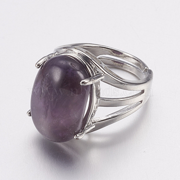 Natural Amethyst Wide Band Finger Rings, with Alloy Ring Findings, Oval, 18mm(X-RJEW-K224-A20)