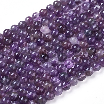 Natural Amethyst Round Bead Strands, Grade B, 6mm, Hole: 1mm, about 69pcs/strand, 15.74 inches(X-G-L170-6mm-03)