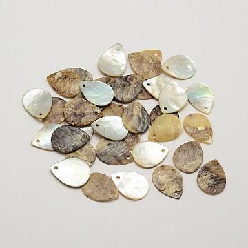 Flat Teardrop Natural Akoya Shell Charms, Mother of Pearl Shell Pendants, Tan, 15.5~16x12x1~1.5mm, Hole: 1mm; about 720pcs/bag(SHEL-N031-06)