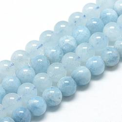 """Chapelets de perles en aigue-marine naturelle, Grade a, rond, 8~9mm, trou: 1mm; environ 45~48 pcs/chapelet, 15.7""""(G-R446-8mm-05)"""